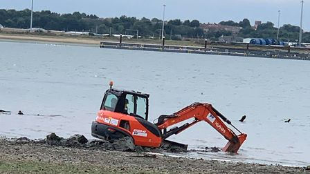 A digger had to be helped out of the mud in Shotley Picture: SAMANTHA BATEMAN