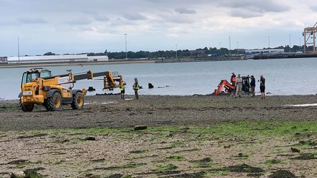 A JCB was brought in to help bring out the digger Picture: SAMANTHA BATEMAN