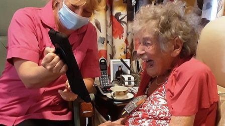 Jean Wood was delighted to receive video calls from family and friends all over the world on her 100
