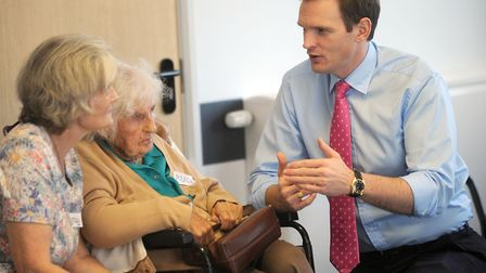 Central Suffolk and North Ipswich MP Dr Dan Poulter at an Age UK Suffolk Forget-me-not dementia day