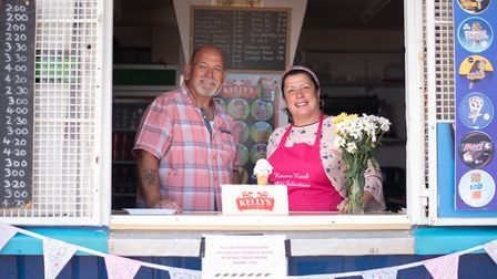 Beachside businesses are open again and are hoping for a hot summer - like this kiosk in Felixstowe