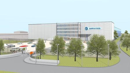 A 3D visualisation of the Surya Food warehouse, which is planned to be built off the A12 in Ardleigh