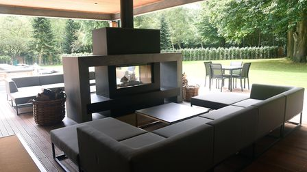 The spa's outdoor sofas and fire Picture: CHARLOTTE BOND