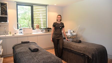 Spa manager Katie Baker alongside the socially-distanced treatment beds Picture: CHARLOTTE BOND