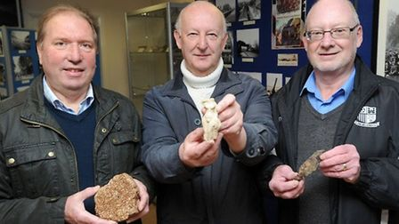 Kenneth Dodd, John Broughton and John Nunn pictured with the finds from their Long Melford digs Pict