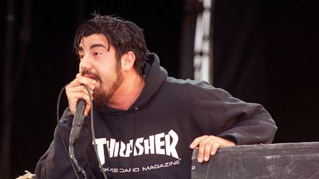 Chino Moreno, lead singer of the band the Deftones, performing on stage at the Reading Music Festiva