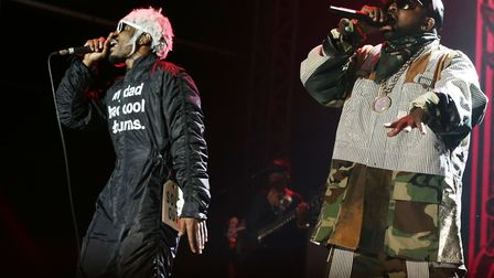 Andre 3000 (left) and Big Boi of Outkast performing on the Main Stage at Bestival, held at Robin Hil
