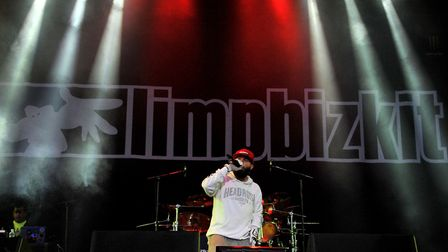 Fred Durst of Limp Bizkit performs during the Download Festival at Castle Donington Picture: LEWIS