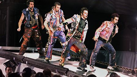 NSync performs their opening number in a concert at Giants Stadium in East Rutherford, New Jersey. F