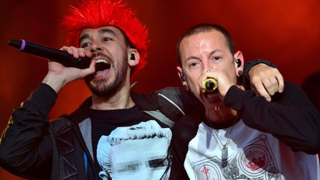 Mike Shinoda and Chester Bennington of Linkin Park perform during day two of the 2014 Download Festi