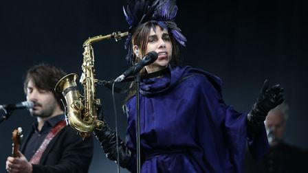 PJ Harvey performing on The Other Stage at the Glastonbury Festival, at Worthy Farm in Somerset. Pic