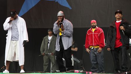 The Wu-Tang Clan performing on the Pyramid Stage at the Glastonbury Festival in Somerset. Picture: