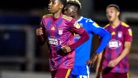 Tawanda Chirewa came on as a late substitute in the match at Colcheter. Picture: Steve Waller