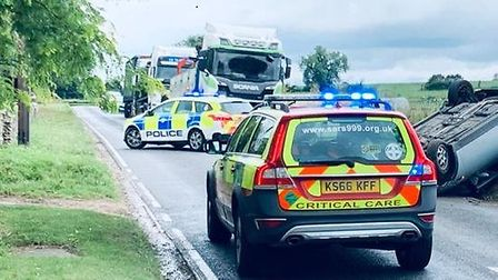 Suffolk Accident Rescue Service were called to the collision in Brandon Road, near Wordwell, this mo