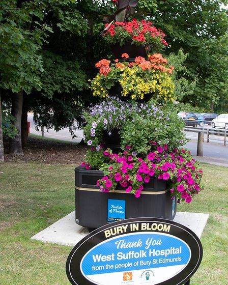 The floral display is outside the main West Suffolk Hospital entrance Picture: JO SWEETMAN