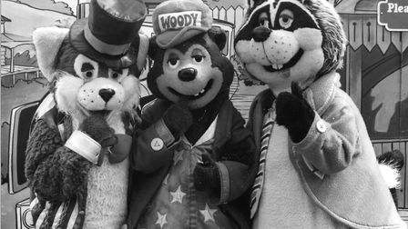 Pleasurewood Hills' mascot Woody Bear with his pals Ronnie Racoon and Clarence the Cat Picture: ARCH