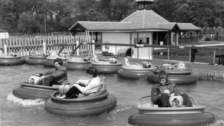 Visitors try out bumper boats at a preview day held at Pleasurewood Hills in May, 1983 Picture: ARCH