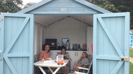 Visiting a beach hut for the day makes for the ideal family trip Picture: Ryan's Insurance/Millie's