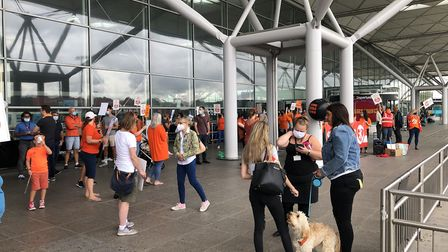 easyJet workers have protested against 1,290 proposed job cuts. Picture: CLAIRE LEES