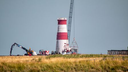 The top of the lighthouse has now been completely removed Picture: CARL HUMPHREY