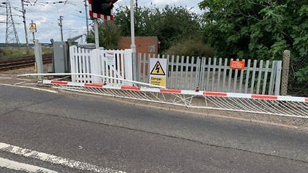 The rail barriers at Manningtree have been knocked off their hinges after a collision with lorry. Pi
