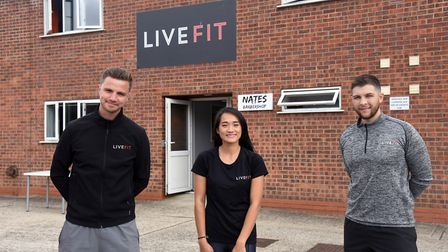Owners Jack and Connie Cardy with Callum Ibbotson at Live Fit gym in Lawford, which has reopened aft