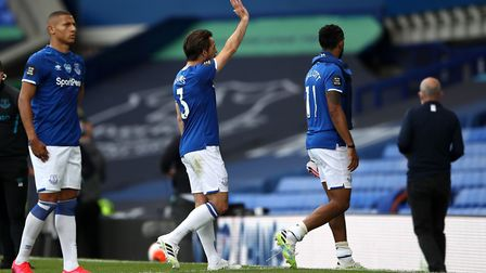 Everton's Leighton Baines waves as he walks off after his final match for Everton yesterday Picture: