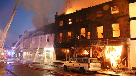 Fire crews tackle the major blaze in the centre of Sudbury in September 2015. Picture: SUFFOLK COUNT