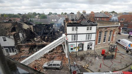 Emergency services at the scene of a fire in Sudbury town centre in September 2015. Picture: PHIL MO