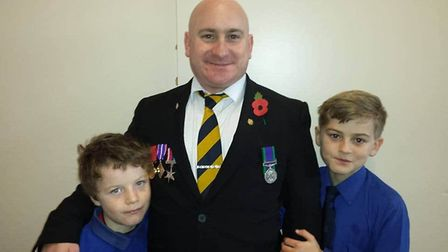From left to right, Kayden, Vinny and Francis Cantlow on a Remembrance Day. Picture: CANTLOW FAMILY