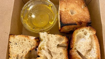 One of our starters at Tuddenham Mill - grain culture foccacia and Yare Valley oil