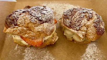 Our dessert at Tuddenham Mill - a pair of choux! Strawberry and cream on the left, Tirami-choux on t
