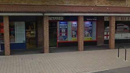 The alleged assault happened outside Betfred in Valley Way, Newmarket Picture: GOOGLE MAPS