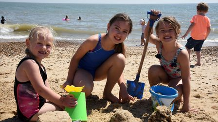 Sisters Eleanor, Alice and Emily. Felixstowe sea front Picture: CHARLOTTE BOND