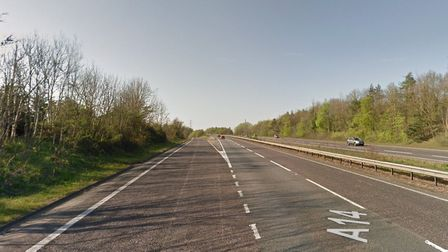 The A14 westbound is partially closed between junction 51 Needham Market and 52 Claydon after a car