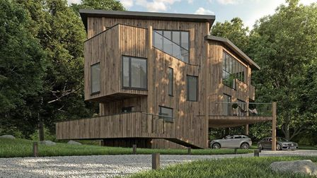 A plot of land in Great Barton with plans for grand design-style Tree House is up for sale. Picture:
