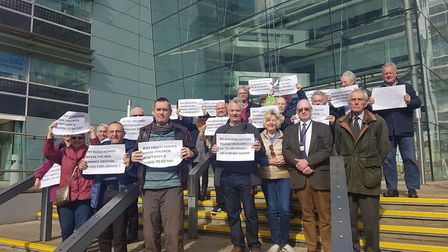 A group of residents who attended Babergh District Council's planning committee to oppose plans for