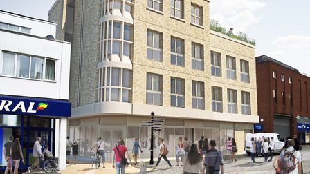 The proposed view from St Andrew's Street South and the curved shop front Picture: WEST SUFFOLK COUN