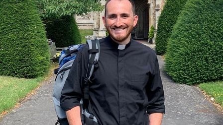 Reverend Tom Mumford will be walking from Sudbury to Bury St Edmunds to raise money for the Kernos C