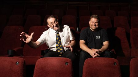 Pat Church and Chris Peters try out the luxury seats in the premier screen at the Abbeygate Cinema P