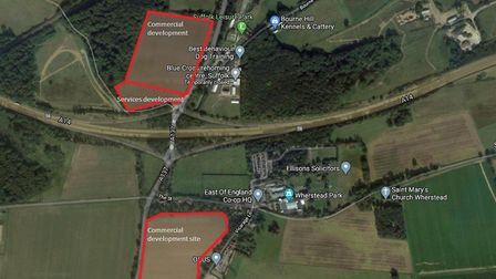 Locations for the new services and two commercial business parks in Wherstead, discussed by Babergh