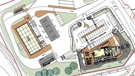 Architect's impression of what a petrol station, drive-thru restaurant and associated shop could loo