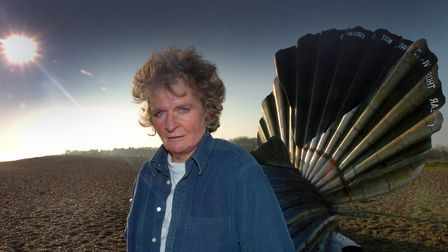 Maggi Hambling with the Scallop on Aldeburgh beach Picture: ARCHANT