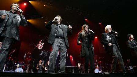 The Osmonds performing in concert at Wembley Arena in 2008. In the early 1970s, they were the bigges