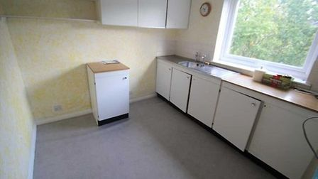 The kitchen of the flat in Ashmere Grove, Ipswich Picture: NICHOLAS ESTATES