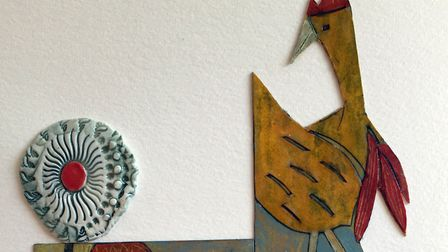 Susie Bruce's Cockerels artwork. Susie will be taking part in the Suffolk Craft Society's Pop-Up Mar