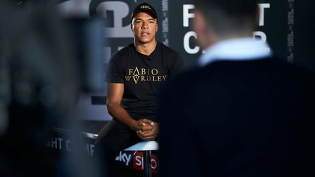 Fabio Wardley meets the media as part of the run-up to his English heavyweight title fight with Simo