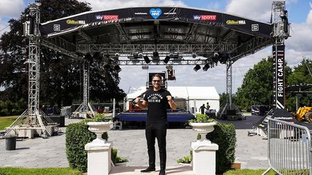 Matchroom boss Eddie Hearn in front of the Fight Camp ring set-up Picture: DAVE THOMPSON