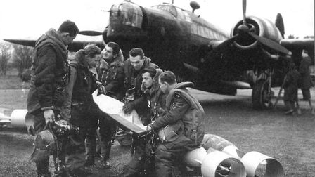Members of 311 (Czechoslovak) Squadron in front of a Wellington bomber at RAF Honington. Picture: RA