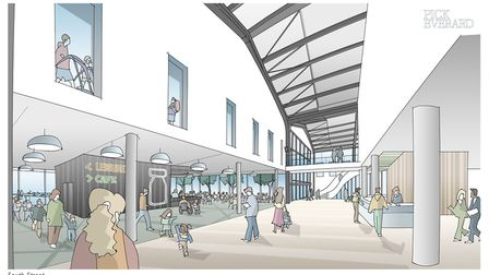 An artist's impression of what the inside of the Western Way public services hub could look like. Pi